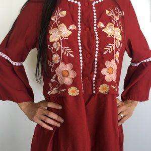 ZARA Boho Cranberry Floral Fall Linen Dress XL